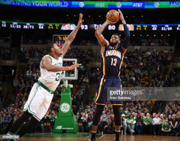 Paul George of the Indiana Pacers shoots the ball against the Boston Celtics during the game on March 22 2017 at the TD Garden in Boston...