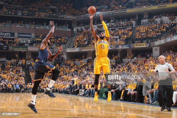 Paul George of the Indiana Pacers shoots the ball against the Cleveland Cavaliers during Game Three of the Eastern Conference Quarterfinals of the...