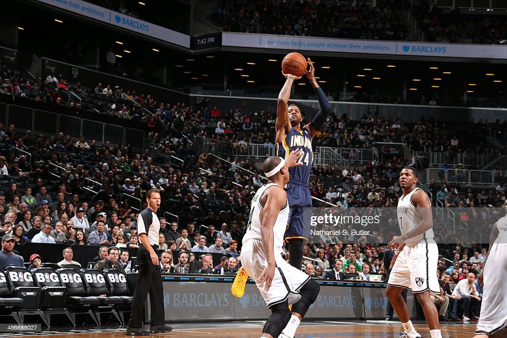 Paul George #24 of the Indiana Pacers shoots the ball against the Brooklyn Nets during a game at Barclays Center on November 9, 2013 in the Brooklyn borough of New York City.