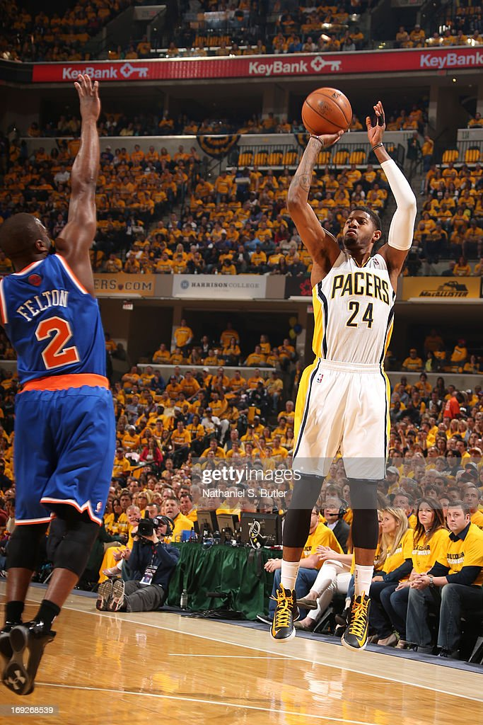 Paul George #24 of the Indiana Pacers shoots the ball against the New York Knicks in Game Three of the Eastern Conference Semifinals during the 2013 NBA Playoffs on May 11, 2013 at the Bankers Life Fieldhouse in Indianapolis.