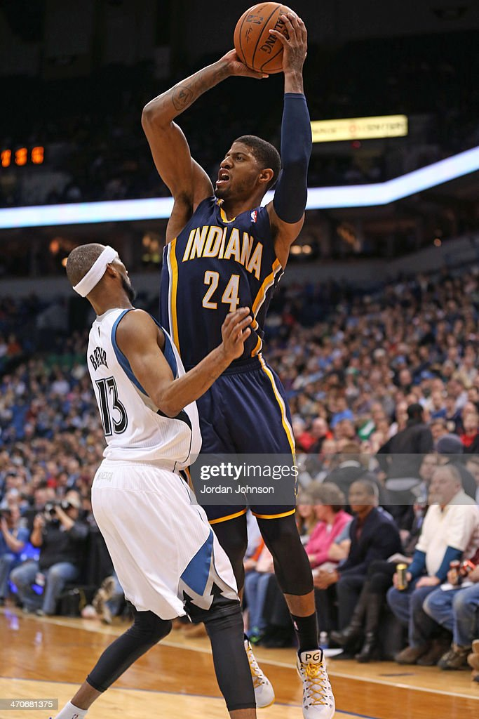 Paul George #24 of the Indiana Pacers shoots the ball against the Minnesota Timberwolves on February 19, 2014 at Target Center in Minneapolis, Minnesota.