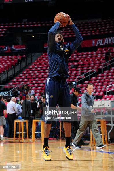 Paul George of the Indiana Pacers shoots the ball before Game Six of the Eastern Conference Quarterfinals against the Atlanta Hawks on May 1 2014 at...