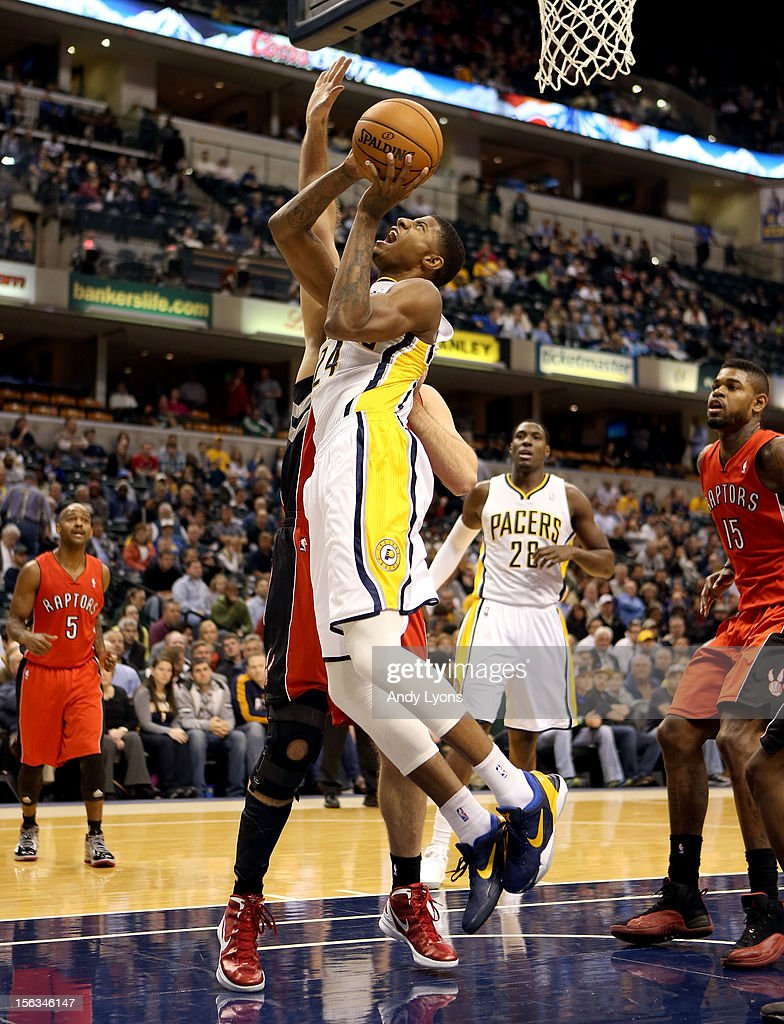 Paul George #24 of the Indiana Pacers shoots the ball during the NBA game against the Toronto Raptors at Bankers Life Fieldhouse on November 13, 2012 in Indianapolis, Indiana.