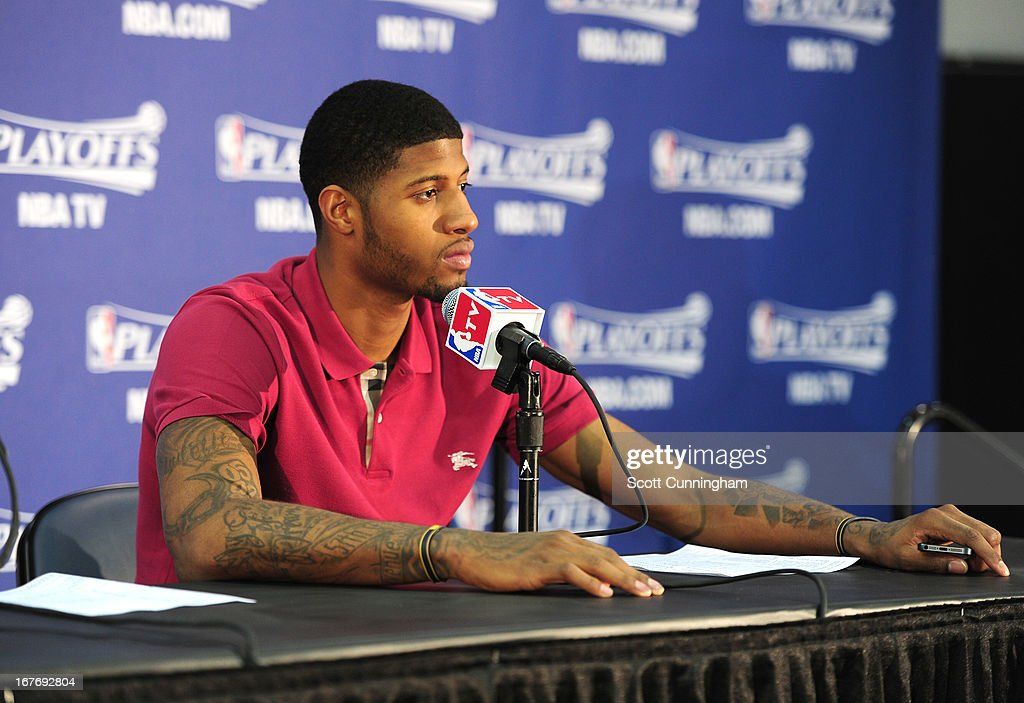 Paul George #24 of the Indiana Pacers speaks during a press conference after a loss in the Game Three of the Eastern Conference Quarterfinals between the Indiana Pacers and the Atlanta Hawks in the 2013 NBA Playoffs on April 27, 2013 at Philips Arena in Atlanta, Georgia.
