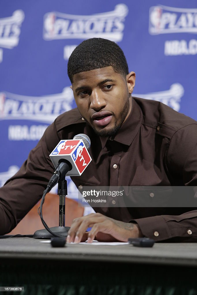 Paul George #24 of the Indiana Pacers speaks during a press conference after winning the Game Two of the Eastern Conference Quarterfinals between the Indiana Pacers and the Atlanta Hawks on April 24, 2013 at Bankers Life Fieldhouse in Indianapolis, Indiana.