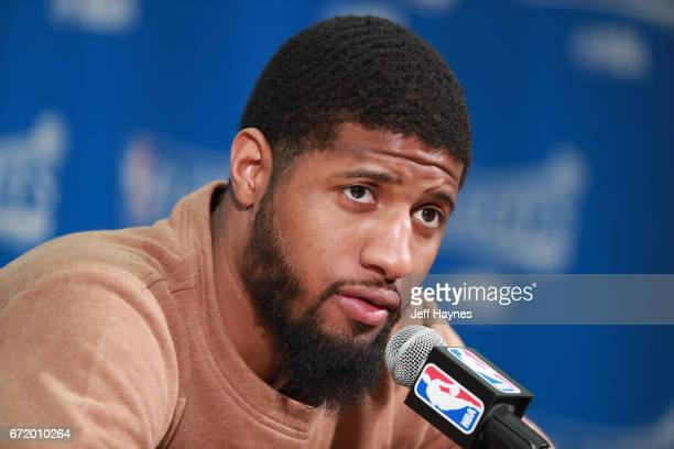 Paul George of the Indiana Pacers speaks during the postgame press conference after the game against the Cleveland Cavaliers during Game Four of the...