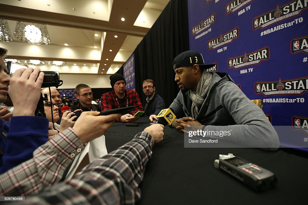 Paul George #13 of the Indiana Pacers speaks to the media during media availability as part of 2016 NBA All-Star Weekend at the Sheraton Centre Toronto Hotel on February 12, 2016 in Toronto, Ontario, Canada.
