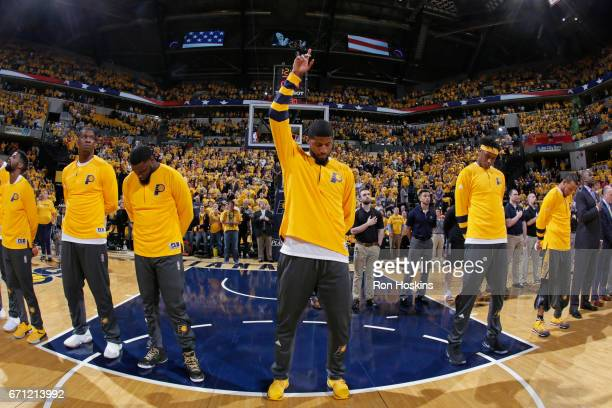 Paul George of the Indiana Pacers stands on the court before Game Three of the Eastern Conference Quarterfinals against the Cleveland Cavaliers of...