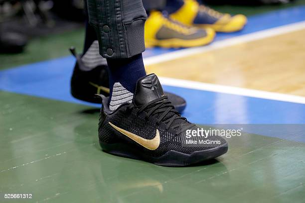 Paul George of the Indiana Pacers stands on the court during the third quarter in his NIKE signature Mamba shoes against the Milwaukee Bucks at BMO...
