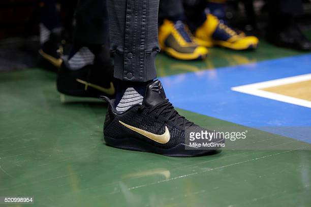 Paul George of the Indiana Pacers stands on the sidelines during the third quarter in his NIKE signature Mamba shoes against the Milwaukee Bucks at...