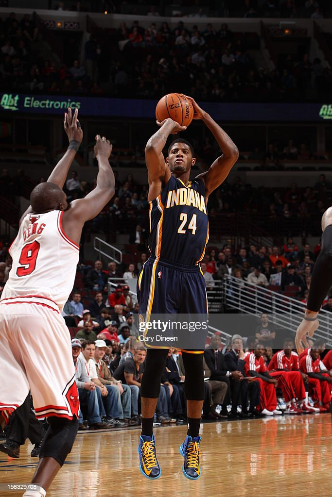 Paul George #24 of the Indiana Pacers takes a shot against the Chicago Bulls on December 4, 2012 at the United Center in Chicago, Illinois.