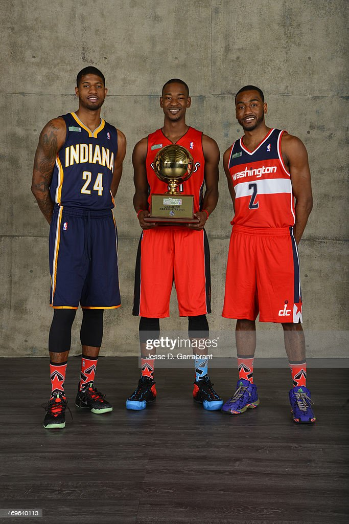 Paul George of the Indiana Pacers, Terrence Ross of the Toronto Raptors and John Wall of the Washington Wizards poses for a portrait after winning the Sprite Slam Dunk Contest during the 2014 State Farm Saturday Night on February 15, 2014 at the Smoothie King Center in New Orleans, Louisiana.