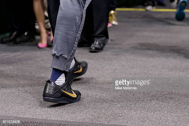 Paul George of the Indiana Pacers walks off the court in his NIKE signature Mamba shoes after the game against the Milwaukee Bucks at BMO Harris...