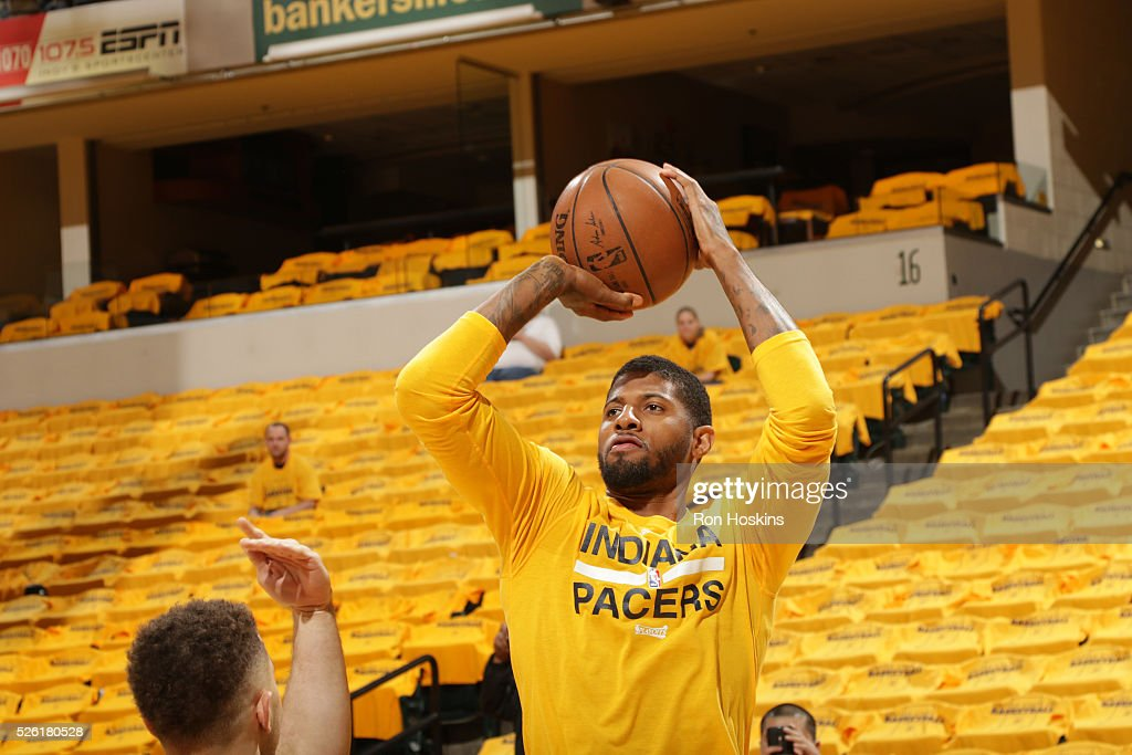 Paul George #13 of the Indiana Pacers warms up before the game against the Toronto Raptors in Game Six of the Eastern Conference Quarterfinals during the 2016 NBA Playoffs on April 29, 2016 at Bankers Life Fieldhouse in Indianapolis, Indiana.