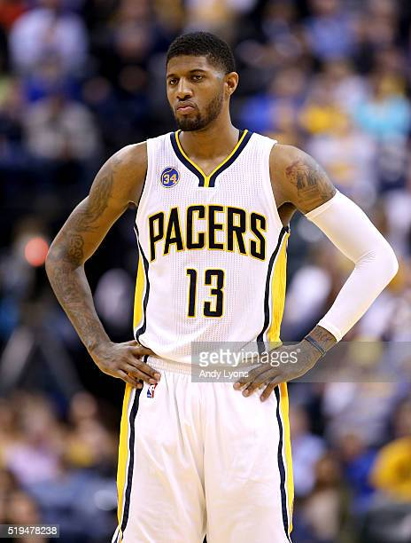 Paul George of the Indiana Pacers watches the action during the game against the Cleveland Cavaliers at Bankers Life Fieldhouse on April 6 2016 in...