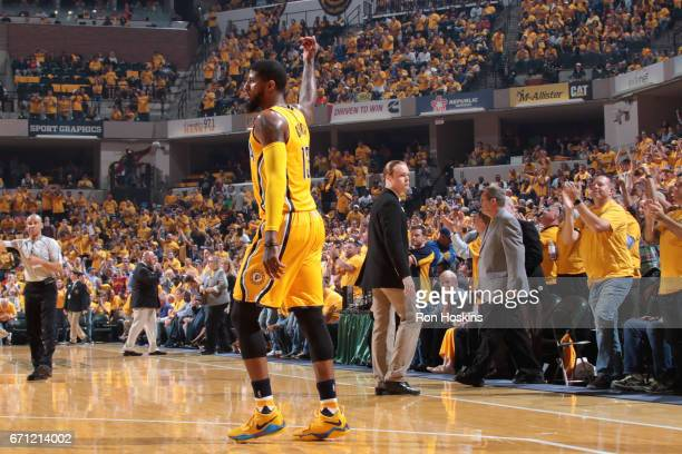 Paul George of the Indiana Pacers waves to the crowd during Game Three of the Eastern Conference Quarterfinals against the Cleveland Cavaliers of the...