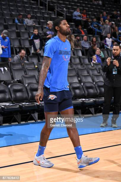 Paul George of the Oklahoma City Thunder before the game against the Golden State Warriors during the game at the Chesapeake Energy Arena on November...
