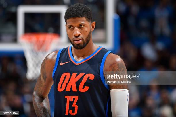 Paul George of the Oklahoma City Thunder during the game against the Orlando Magic on November 29 2017 at Amway Center in Orlando Florida NOTE TO...