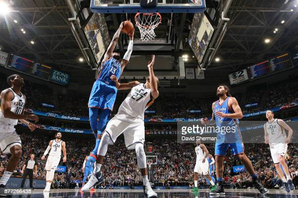Paul George of the Oklahoma City Thunder goes to the basket against the Utah Jazz on October 21 2017 at Vivint Smart Home Arena in Salt Lake City...