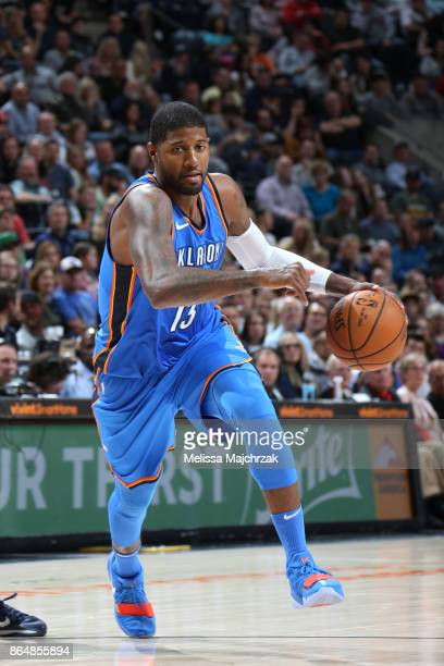 Paul George of the Oklahoma City Thunder handles the ball against the Utah Jazz during the game on October 21 2017 at vivintSmartHome Arena in Salt...