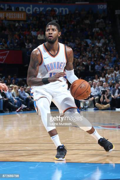 Paul George of the Oklahoma City Thunder handles the ball against the LA Clippers on November 10 2017 at Chesapeake Energy Arena in Oklahoma City...