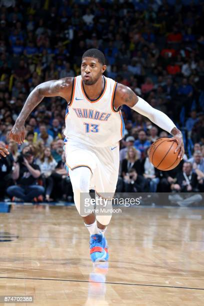 Paul George of the Oklahoma City Thunder handles the ball during the game Chicago Bulls on November 15 2017 at Chesapeake Energy Arena in Oklahoma...