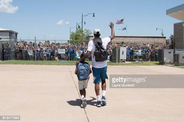 Paul George of the Oklahoma City Thunder is greeted by Thunder fans on July 11 2017 at the Will Rogers Airport in Oklahoma City Oklahoma The Thunder...
