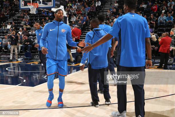 Paul George of the Oklahoma City Thunder is introduced before the game against the Utah Jazz on October 21 2017 at Vivint Smart Home Arena in Salt...