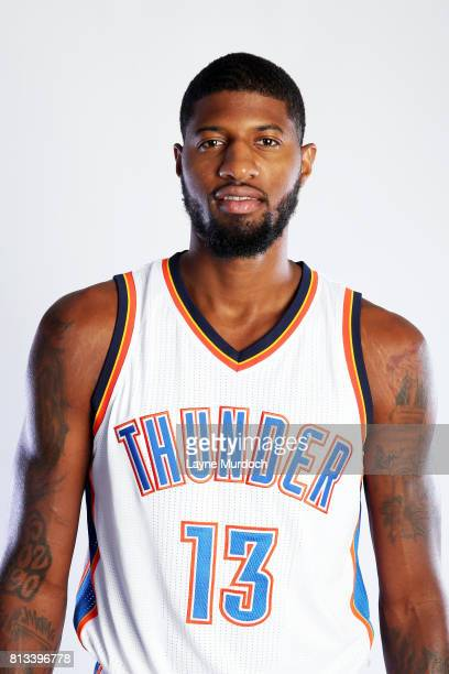 Paul George of the Oklahoma City Thunder poses for a head shot on July 12 2017 at the Colcord Hotel in Oklahoma City Oklahoma NOTE TO USER User...