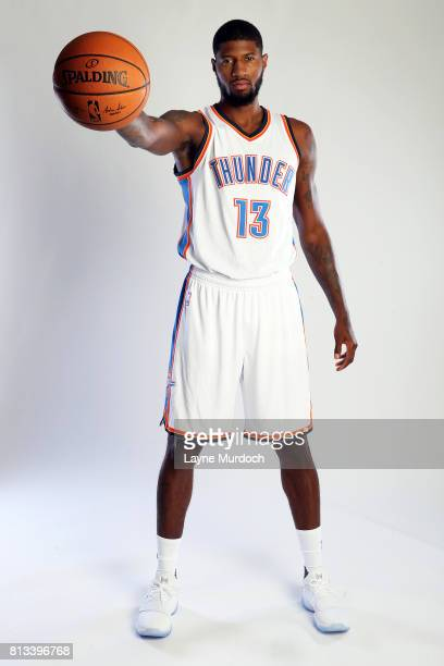 Paul George of the Oklahoma City Thunder poses for portraits on July 12 2017 at the Colcord Hotel in Oklahoma City Oklahoma NOTE TO USER User...