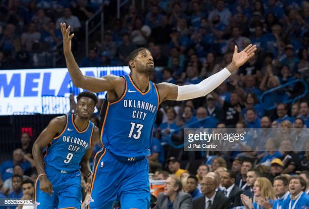 Paul George of the Oklahoma City Thunder reacts as the team takes a lead over the New York Knicks during the second half of a NBA game at the...
