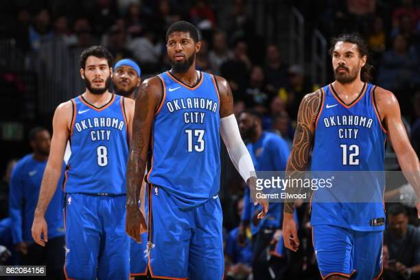 Paul George of the Oklahoma City Thunder reacts during the preseason game against the Denver Nuggets on October 10 2017 at the Pepsi Center in Denver...