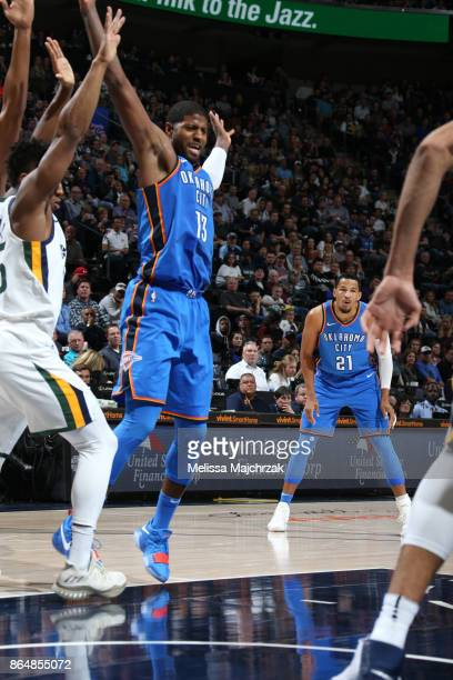 Paul George of the Oklahoma City Thunder reacts to a play against the Utah Jazz during the game on October 21 2017 at vivintSmartHome Arena in Salt...
