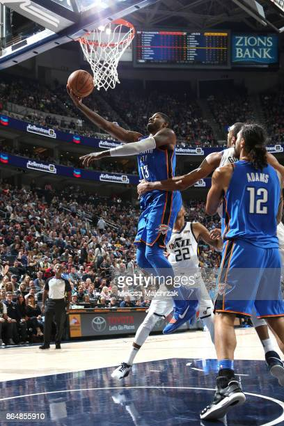 Paul George of the Oklahoma City Thunder shoots a lay up against the Utah Jazz during the game on October 21 2017 at vivintSmartHome Arena in Salt...