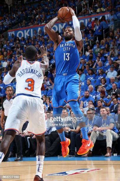 Paul George of the Oklahoma City Thunder shoots the ball against the New York Knicks on October 19 2017 at Chesapeake Energy Arena in Oklahoma City...