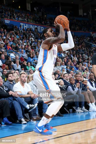 Paul George of the Oklahoma City Thunder shoots the ball against the Minnesota Timberwolves on December 1 2017 at Chesapeake Energy Arena in Oklahoma...