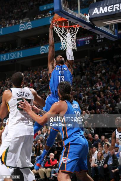 Paul George of the Oklahoma City Thunder shoots the ball during a game against the Utah Jazz on October 21 2017 at Vivint Smart Home Arena in Salt...