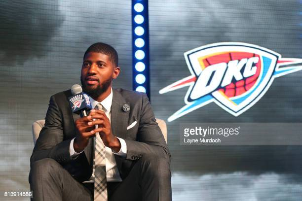 Paul George of the Oklahoma City Thunder speaks to fans and media during a media event on July 12 2017 at the Jones Assembly Hall in Oklahoma City...