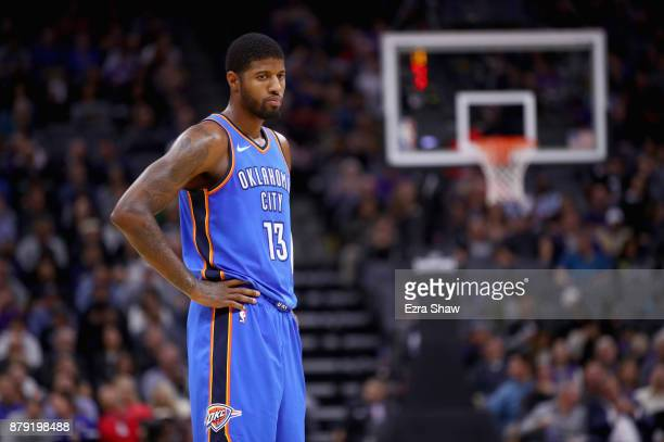 Paul George of the Oklahoma City Thunder stands on the court during their game against the Sacramento Kings at Golden 1 Center on November 7 2017 in...