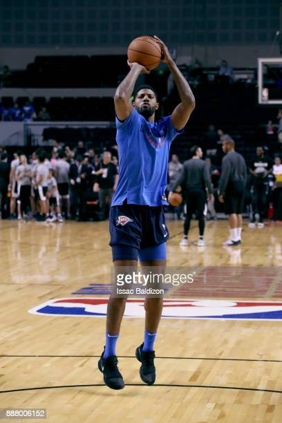 Paul George of the Oklahoma City Thunder warms up before the game against the Brooklyn Nets as part of the NBA Mexico Games 2017 on December 7 2017...