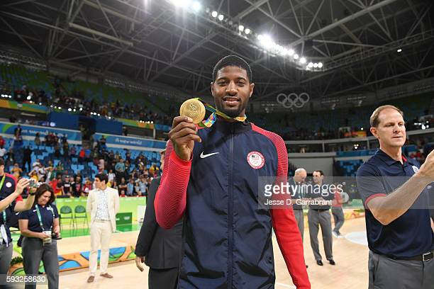 Paul George of the USA Basketball Men's National Team celebrates after winning the Gold Medal Game against Serbia on Day 16 of the Rio 2016 Olympic...