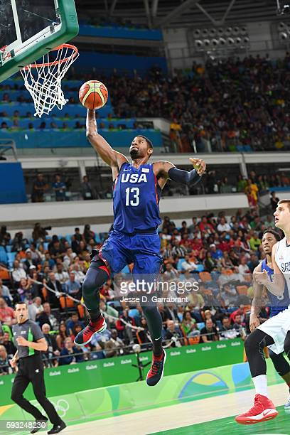 Paul George of the USA Basketball Men's National Team goes up for a dunk against Serbia during the Gold Medal Game on Day 16 of the Rio 2016 Olympic...