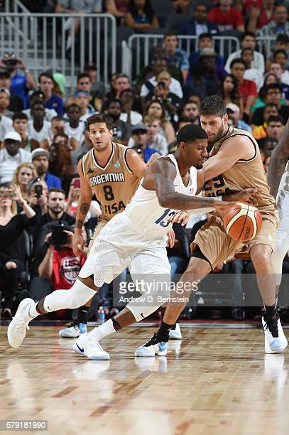 Paul George of the USA Basketball Men's National Team handles the ball against Argentina on July 22 2016 at TMobile Arena in Las Vegas Nevada NOTE TO...