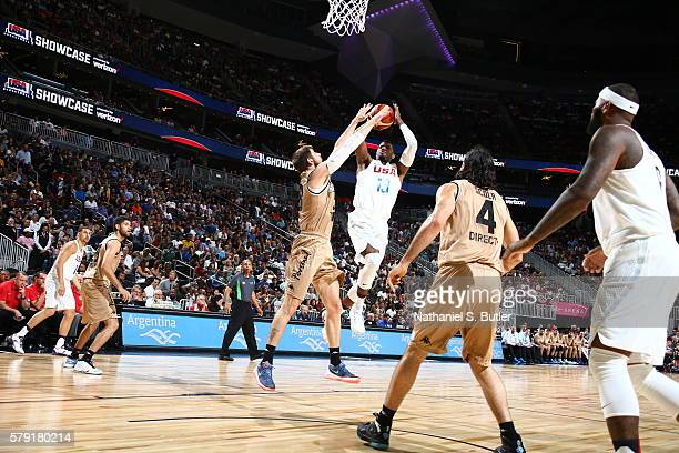 Paul George of the USA Basketball Men's National Team shoots against Argentina on July 22 2016 at TMobile Arena in Las Vegas Nevada NOTE TO USER User...