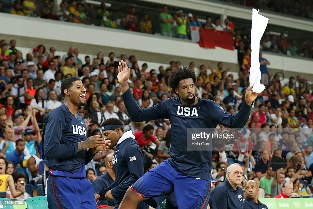 Paul George #13 of United States and DeAndre Jordan #6 of United States react during the game against China on Day 1 of the Rio 2016 Olympic Games at Carioca Arena 1 on August 6, 2016 in Rio de Janeiro, Brazil.