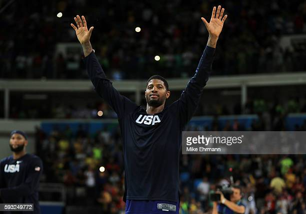 Paul George of United States celebrates after defeating Serbia during the Men's Gold medal game on Day 16 of the Rio 2016 Olympic Games at Carioca...