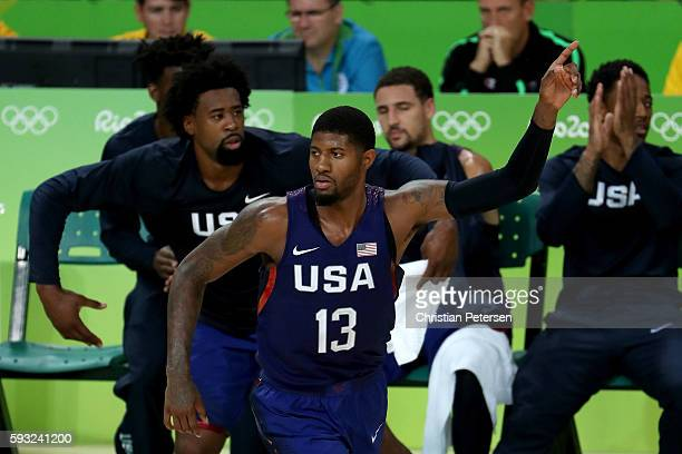 Paul George of United States reacts after a shot against Serbia during the Men's Gold medal game on Day 16 of the Rio 2016 Olympic Games at Carioca...