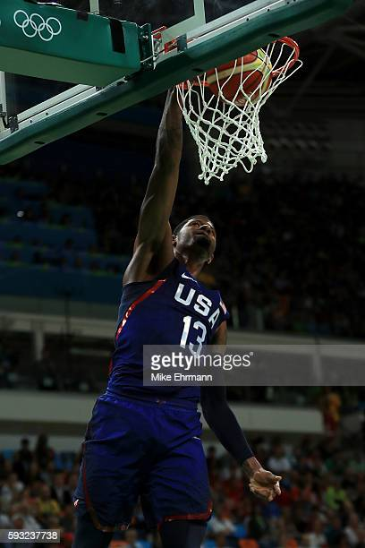 Paul George of United States shoots the ball aginst Serbia during the Men's Gold medal game on Day 16 of the Rio 2016 Olympic Games at Carioca Arena...