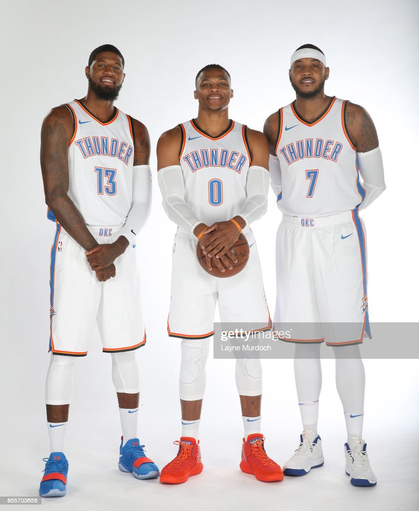 ¿Cuánto mide Paul George? - Real height Paul-george-russell-westbrook-and-carmelo-anthony-of-the-oklahoma-picture-id855703658