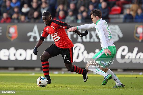 Paul Georges Ntep of Rennes adn Ole Kristian Selnaes of SaintEtienne during the Ligue 1 match between Stade Rennais and AS SaintEtienne at Roazhon...